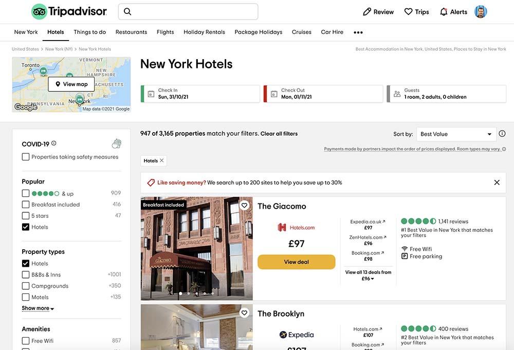 Tripadvisor hotel search screenshot