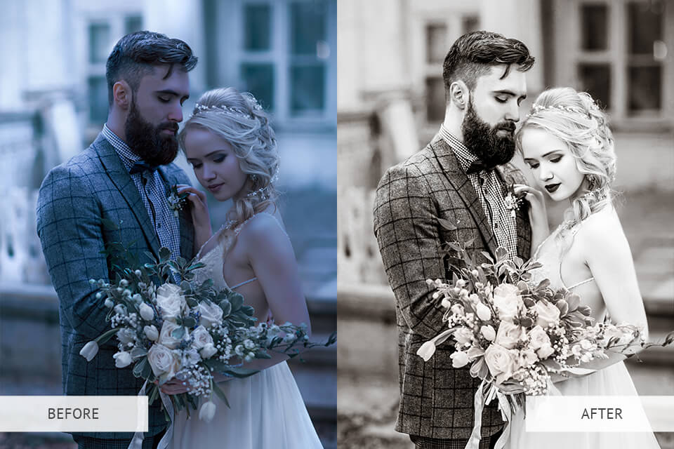 Preset example from the black and white essential Lightroom presets