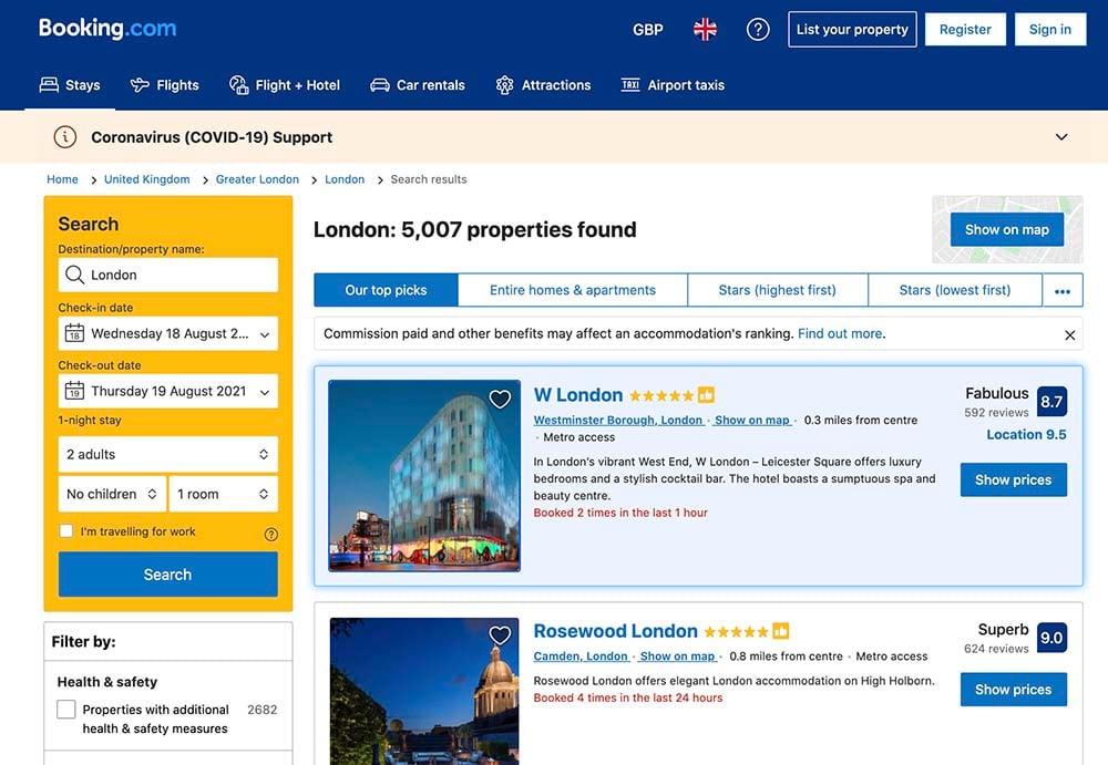 Screenshot for booking.com
