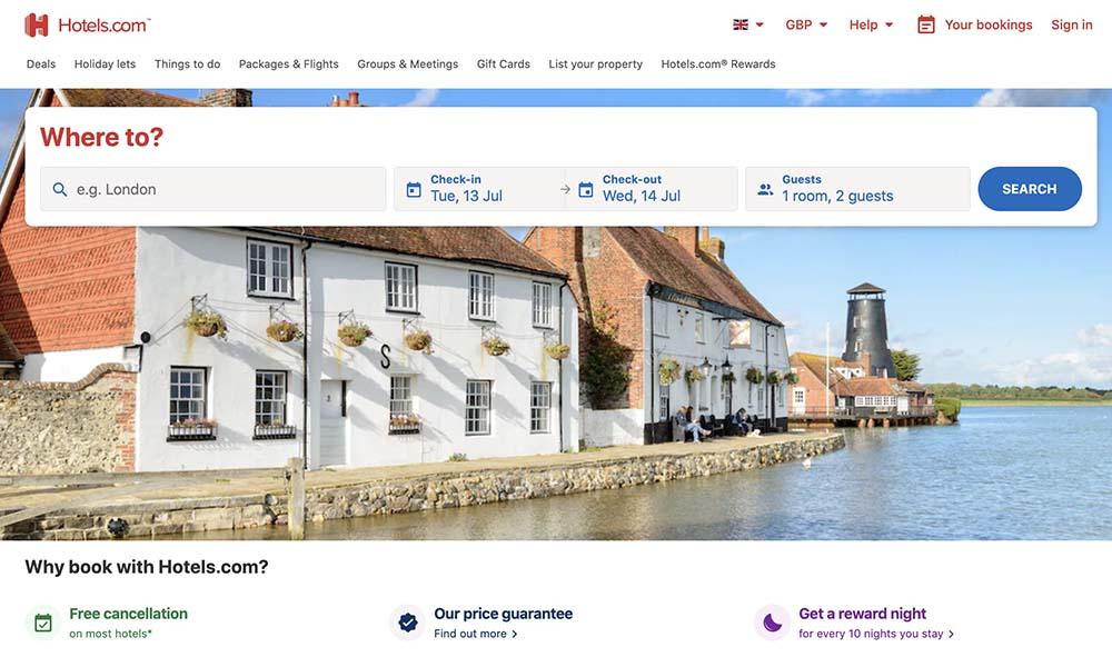 hotels dot com screenshot
