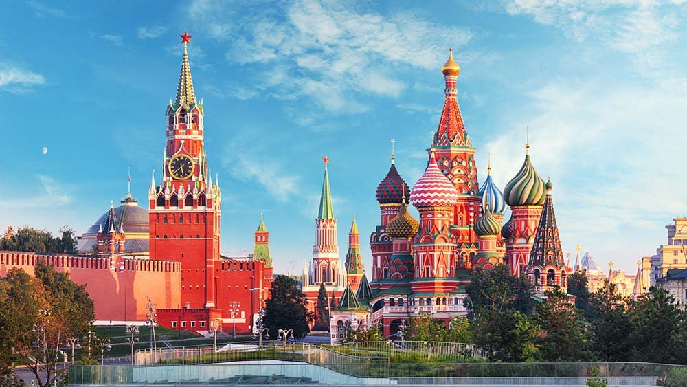 St Basil's Cathedral and the Kremlin in Moscow