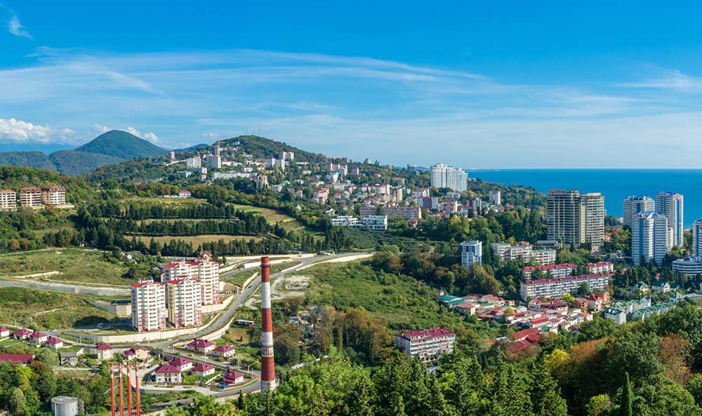 Aerial view of Sochi in Russia